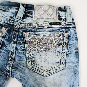 Miss Me | Acid Wash Rhinestone Wing Bootcut Jeans